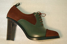 WOMAN-39- LACEUP OXFORD-GREEN GRAIN CALF,BROWN SUEDE - HEEL H.9cm - LTH SOLE