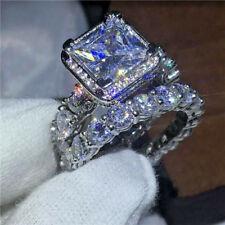 Engagement Ring 10K Real White Gold 5.00Ct Princess Round Cut Diamond Bridal Set