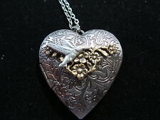 ANTIQUE SILVER HUMMINGBIRD HEART LOCKET