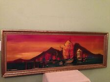 """Mid Century Modern Chinese Junk Boat Large 60"""" Oil Painting Signed Wong"""