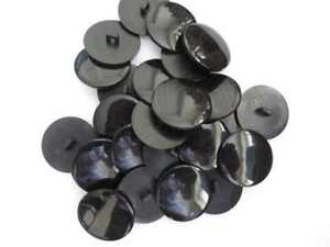 50 pieces of flat round black plastic shank buttons 28mm, 19mm or 16mm