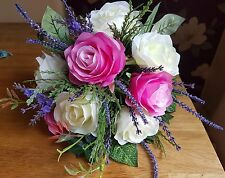 Artificial Pink ivory Roses and lavender tied Flower bunch .Ideal Home/wedding