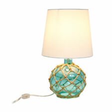 Elegant Designs Buoy Rope Nautical Netted Coastal Ocean Sea Glass Table Lamp .