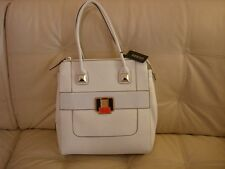 NEW WT WHITE LARGE GUESS PURSE TOTE GOLD HARDWARE  LEATHER LIKE PATENT DURADO