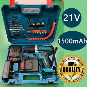 21V Cordless Combi Drills Driver LED Worklight Impact Screwdriver Li-Ion Battery