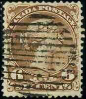 Canada #27a used F-VF 1868 Queen Victoria 6c yellow brown Large Queen CV$110.00