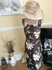Jacques Vert Brown/gold Shantung Wiggle Dress Only Size 16 Ex Hol 9.5-16.6