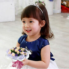Lovely Diamante Heart Crown Tiara Hair Band  Headband Kids Children Bridal Gift