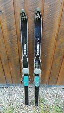 """VINTAGE Wooden 46"""" Skis Signed SKI CHIEF with BLACK Finish + Metal Cable Binding"""
