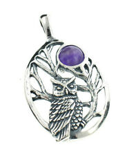 Sterling Silver Night Owl in Tree Scene with Amethyst Moon Pendant