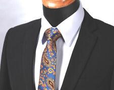 Mens Tie Paisley Blue Yellow Orange Silk Wedding Floral - NEW