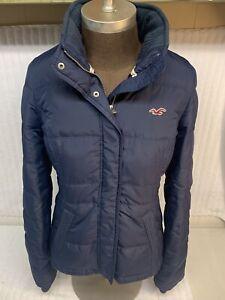 Hollister Women Navy Sherpa Lined Puffer Jacket Coat Large