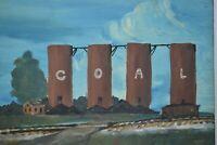 Original Painting COAL Plant Mining Railroad Signed Vintage 1949 Folk Art OOAK