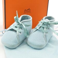 Authentic  HERMES Baby Shoes Light Blue Wool #S1192 E