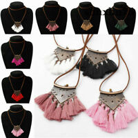 Long Tassel Triangle Pendant Women'S Necklace Sweater Leather Boho Chain