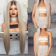 Women Blonde Long Straight Full Wig Heat Resistant Synthetic Hair Ombre Smooth