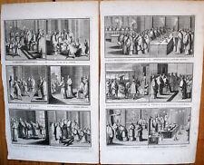 12 GRAVURES ORIGINALES-RELIGION-1722-BERNARD PICART-EVEQUE-EGLISE-PENITENTS-