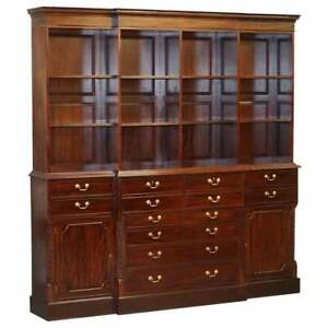 LARGE PANELLED MAHOGANY CHIPPENDALE STYLE LIBRARY BUREAU BOOKCASE WITH DRAWERS