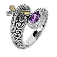 Nice Dragonfly 925 Silver Women Amethyst Ring Citrine Wedding Party Jewelry Gift