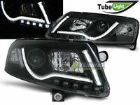 Coppia di Fari Anteriori LED LTI LIGHT TUBE Inside AUDI A6 4F C6 2004-2008 Neri
