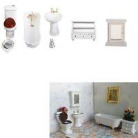 8 Ceramic Bathroom Furniture Set for 1/12 Dolls House Miniature Accessories