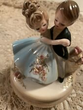 Vintage Josef Originals Dancing Boy & Girl Music Box Couple Blue Danube Waltz