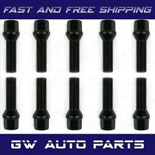 10 PCs BMW Black M12x1.5 Lug Bolts 40mm Shank Conical Seat Wheel Lug Bolts