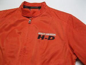 VTG Harley Davidson Classic Orange Cotton Nylon Motorcycle Jacket size XS – Nice