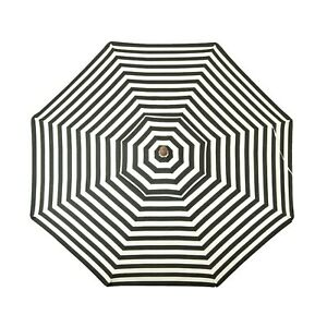 9 ft Italian Stripes Black and White Classic Wood Outdoor Patio Umbrella