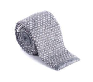 Brunello Cucinelli Men's Grey Wool Skinny Knit Tie Made in Italy