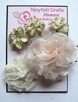 Peachy PINK GOLD SPARKLE Fabric Organza 3 Flower Pk 35-80mm O4 NJC