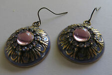 VINTAGE STYLE BRASS DOME LILAC & PINK DESIGN DROP EARRINGS DIAMANTE new pouch