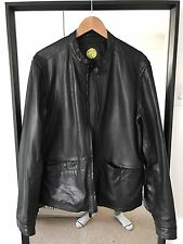 Pretty Green Leather Bomber Jacket Large