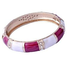 womens crystal crystal bracelet cuff red white enamel bangle 18k Gold filled