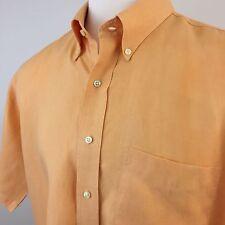 100% Linen Jos A Bank Light Orange Sherbet Button Up Short Sleeve Shirt Men's XL