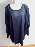 Woman Within Black Velour Pullover Tunic Top Plus Size 2X (26/28) Long Sleeves
