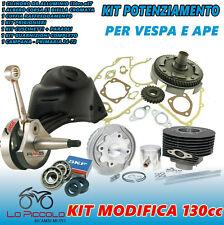 KIT MODIFICA CILINDRO RACING 130 ALBERO MOTORE CAMPANA APE 50 VESPA 50