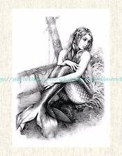 """US SELLER, Vintage Tattoo mermaid 8.25""""extra large temporary tattoo"""