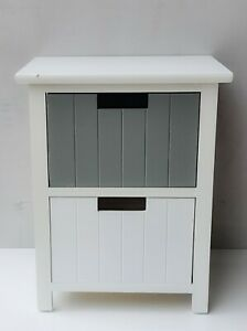 2 Drawer Bathroom Cabinet Storage Unit Fully Assembled White Cupboard white Grey