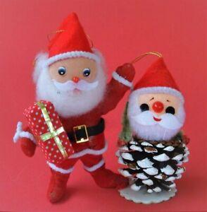 Vintage 1960's 2 CHRISTMAS DECORATIONS Flocked Santa & Acorn Santa Pipe Cleaners
