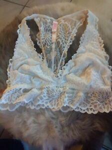Victoria's Secret VS PINK  Lace Crème Bralette S/P No Wire