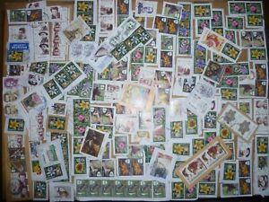 40 grams mixtures Romania stamps on single paper kiloware