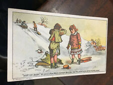 ANTIQUE VICTORIAN TRADE CARD WHITE SEWING MACHINE CO -DONT CRY JOHNY - SLEDDING