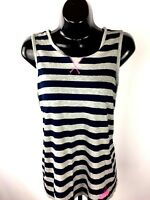 Adidas Tank Top Women's Size  S Small Blue Gray Striped  Pink Adidas Trim Casual