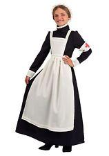 Girls WW1 Vintage War Nurse Florence Nightingale Fancy Dress Costume Outfit 4-12
