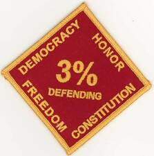 Biker Militia 3% Percent Democracy Honor Freedom Constitution Gold on Red Patch