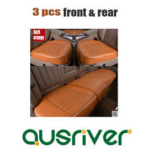Premium New Universal 3pcs Breathable Leather Car Front & Rear Seat Cover Orange
