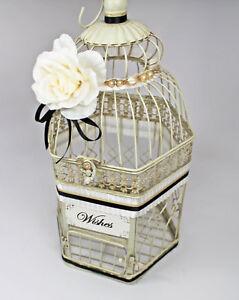 Ivory, Black & Gold Wedding Birdcage Card Holder Vintage, Pearl,Wedding Card Box
