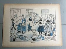 Antique 1899 Moving House Vintage Book Plate Cartoon Line Drwg
