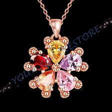 Stunning Rose Gold Plated Zirconia Flower Necklace